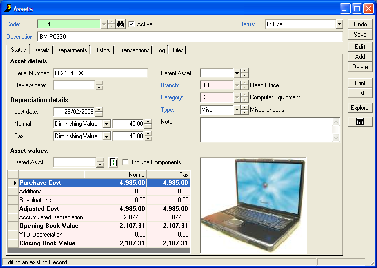 intersoft systems empower fixed asset module